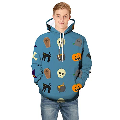 Holzkary Men's Horror Halloween Costume Funny Printed Party Hooded Pullover Tops Long Sleeve Sweatshirts Hoodies with ()
