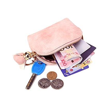 OuYou Mini Monedero Carteras Mujer Bolso de Mano Encantador con Cremallera para Monedas Tarjetas Llaves para Ni/ña Mujer Negro