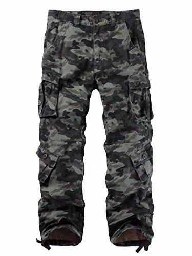 Must Way Men's Cargo Regular Trouser Army Combat Work Trouser Workwear Pants with 8 Pocket 3357 G Camo ()