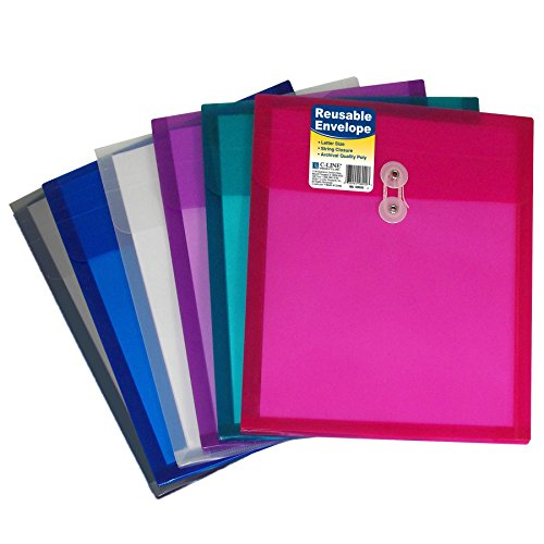 - C-Line Reusable Poly Envelope with String Closure, 1-Inch Gusset, Top Load, Letter Size, Pack of 24 Envelopes, Assorted Colors (58020-24)