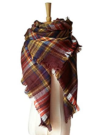 MOLERANI Winter All-match Warm Plaid Blanket Best Gift Scarf Oversized Shawl Cape Brown