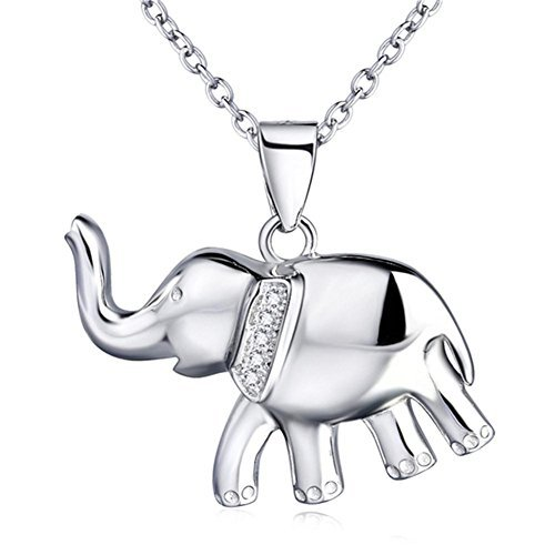VADOO-Rhodium Plated 925 Sterling Silver Polished Cute Baby Elephant Pendant with Rolo Chain Necklace 18'' 18' Rolo