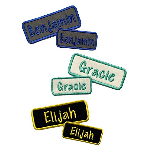 Iron-On-Or-Sew-On-Name-Patches-Matching-Set-of-2-Custom-Embroidered-Tags-Choose-Thread-Color-for-Backpacks-Jackets-Lunchbags-and-More1-Small-and-1-Medium-Patch