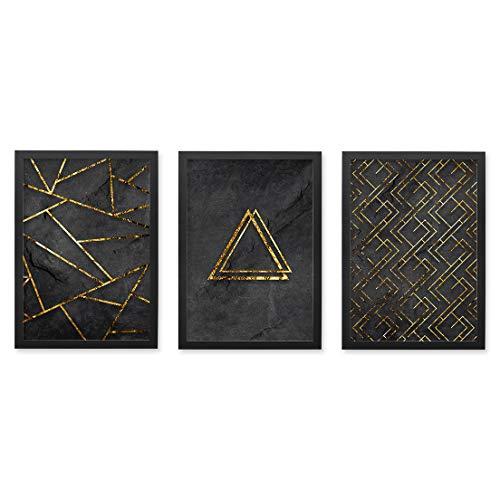 Conjunto Quadros Decorativos Preto e Dourado Moldura Preta 102x43cm - Prolab Gift