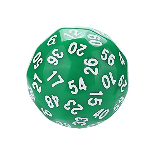 (Gotian 1Pcs Game Dungeons & Dragons Polyhedral D60 Multi Sided Acrylic Dice - Show off your Gaming Skills with These Multi Sides Dices - 1pcs Dices in One Set (3.5cm/1.7inch) (Green))
