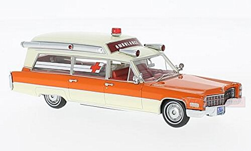 Neo Scale Models (NEO SCALE MODELS NEO49539 CADILLAC S&S WHITE/ORANGE AMBULANCE 1966 1:43 DIE CAST)