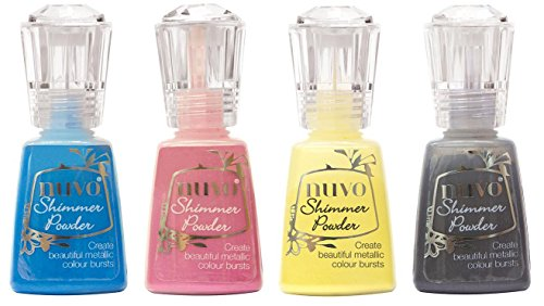 Nuvo Shimmer Powder Bold Block Bundle - Blue Blitz, Cherry, Solar Flare and Storm Cloud - 4 Bottles by Nuvo Shimmer Powder
