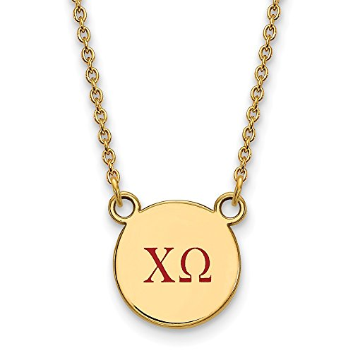 Solid 925 Sterling Silver with Gold-Toned Chi Omega Extra Small Enl Pendant with Necklace (12mm)