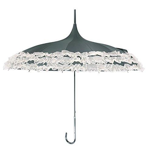 Kung Fu Smith Retro Pagoda Parasol Umbrella, UV Protection & Lace Trim, Black -