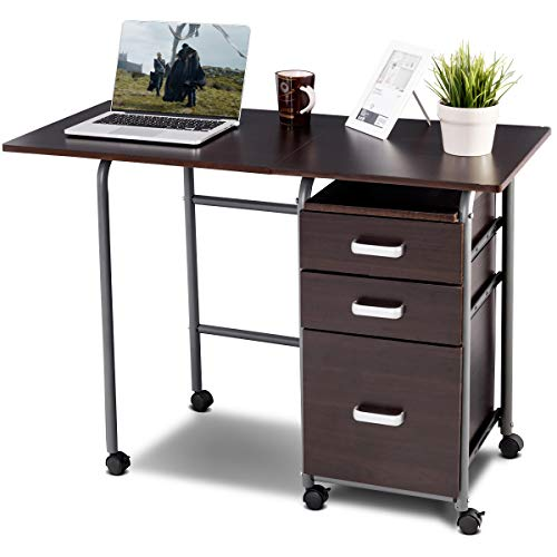 Tangkula Foldable Computer Desk, Home Office Computer Table with 3 Ample Storage Drawers, Laptop Desk Writing Table, Portable Space Saving Compact Desk for Dome Apartment, Folding Table Brown