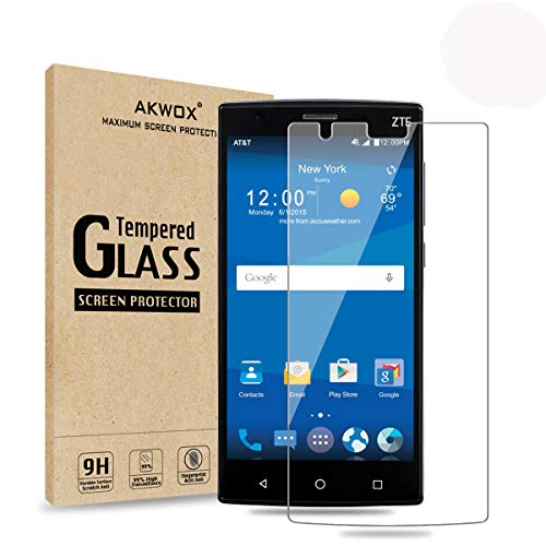 (Pack of 2) ZTE ZMax 2 Glass Screen Protector, Akwox [0.3mm 2.5D High Definition 9H ] Tempered Glass Screen Protector Film for ZTE ZMax2/Z958/Z955L with Lifetime Replacement Warranty