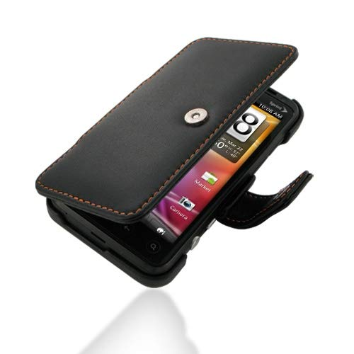(PDair Handmade Leather Book Case for Sprint HTC EVO 3D PG86100 (Orange Stitch))
