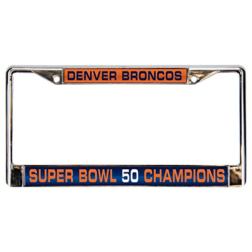 NFL Denver Broncos super Bowl 50 Champions Laser Cut Chrome Plate Frame,12-Inch by (Denver Broncos Silver Laser)