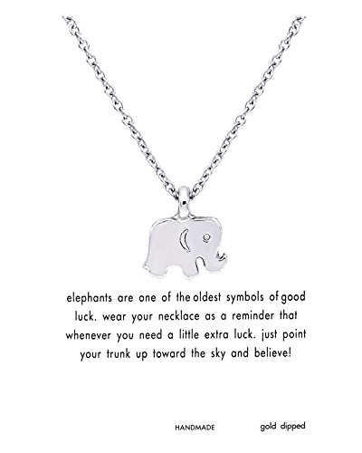 Silver Plated Card (CYBERNY Good Luck Elephant Charm Necklace Wish Message Card Necklace for Women Silver-plated)