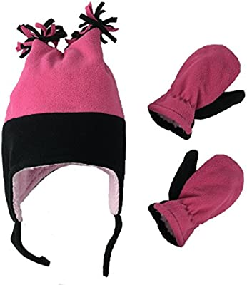 NIce Caps Little Girls and Baby Warm Sherpa Lined Fleece Snow Hat Mitten Set