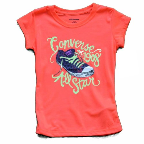 Converse Youth Girl's All Star 1908 Chuck Taylor Short Sleeve T-Shirt (Large - Ages 12-13, Firey Coral)