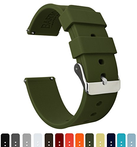 BARTON Silicone Watch Bands - Quick Release Straps - Choose Color & Width - 16mm, 18mm, 20mm, 22mm - Army Green 20mm