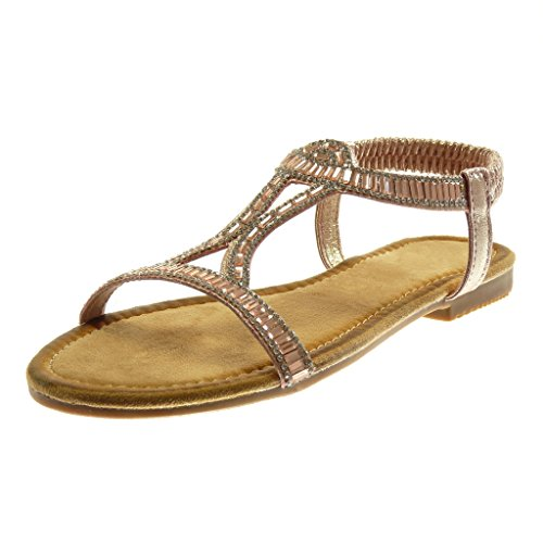 Slip Shiny Shoes 5 Strap Bar Angkorly Sandals 1 cm Ankle On Champagne Fashion Heel Women's Block t Rhinestone HPIIxwZ