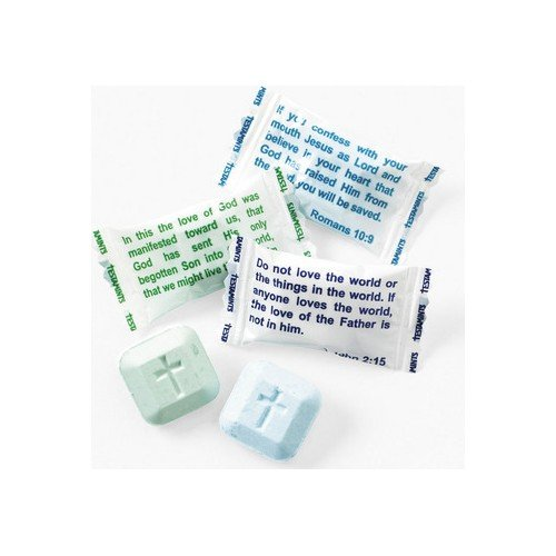 Faith Candy - Testamints Mint candy with Scripture wrappers. and imprinted cross 140pcs
