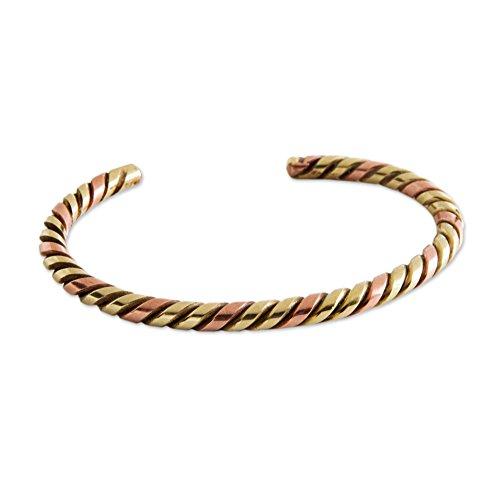 (NOVICA Brass and Copper Twist Cuff Bracelet, Twist and Gleam')