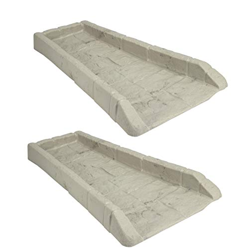 Suncast SB24 Decorative Rain Gutter Downspout Garden Splash Block, Light Taupe (2 Pack)