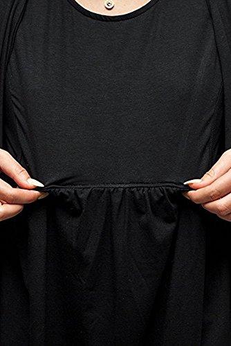 Collo Tinta Allattamento Bozevon Donna Incinti Maternità Abiti Top Infermieristica Unita Nero Maglietta Lunga Rotondo Madre Corta Manica Estate Assistenza BwXqf