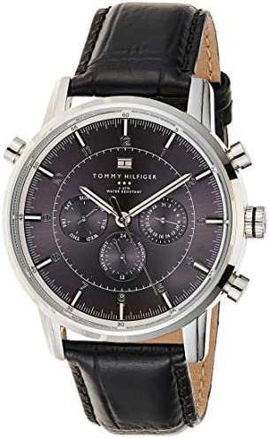 Tommy Hilfiger Men s 1790875 Sport Luxury Stainless Steel Watch with Black Leather Band