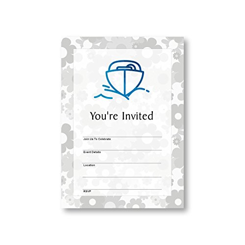 Motorboat Boat Nautic Marine Boats, Flat Party Invitation Card, 12 Cards at 5x7, with White Envelopes, Item 949765