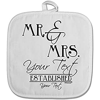 TOOLOUD Personalized Mr and Mrs -Name- Established -Date- Design White Fabric Pot Holder Hot Pad