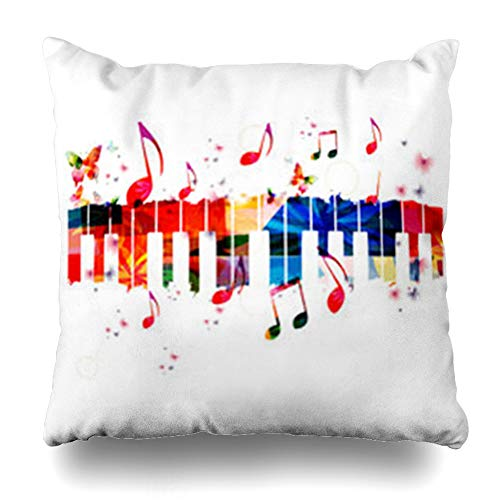 YeaSHARK Throw Pillow Covers Graphic Singing Creative Music Piano Keys Instrument Notes Karaoke Concert Festival Keyboard Abstract Zippered Design Square 16