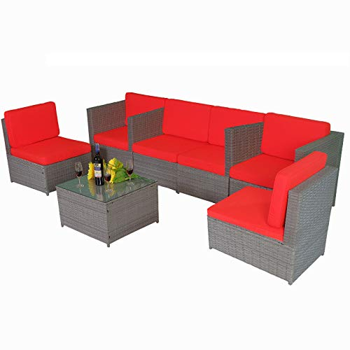 MCombo Outdoor Patio Gray Wicker Furniture Sectional Set Resin All-Weather Conversation Sofas Rattan Chair with Water Resistant Cushion Covers 6087 7PC (Red)