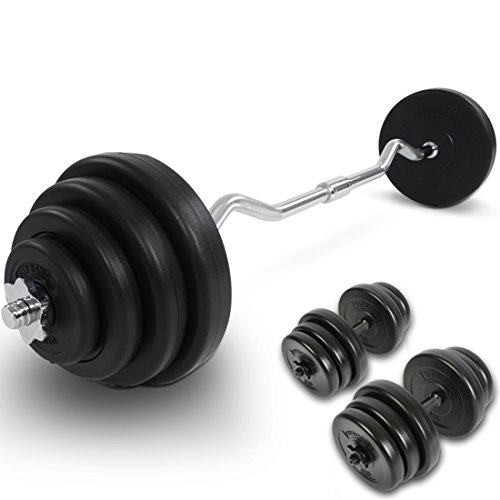 Physionics Kurzhantel-Set (ca. 2 x 20 kg) Kurzhanteln Gewichtsscheiben Curl Stange mit Sternverschluss