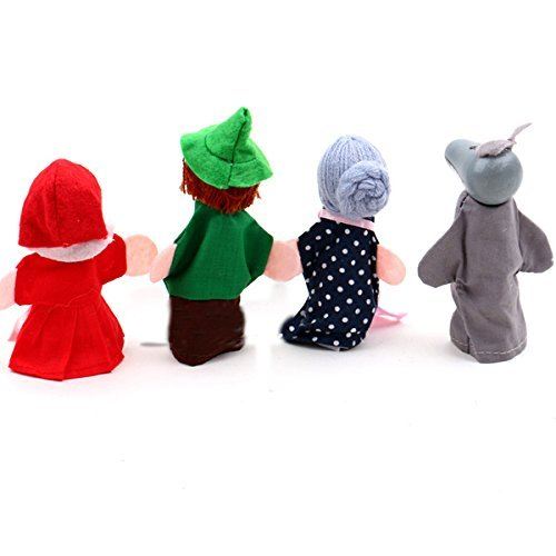 BUYEONLINE 4-In-1 Set Little Red Riding Hood Christmas Animal Finger Puppet Educational Toys Storytelling