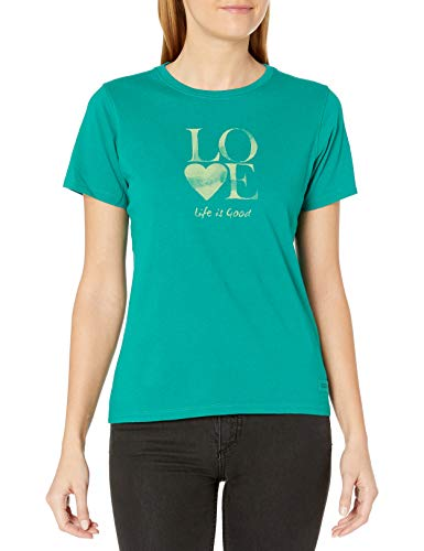 Life is Good Women's Love Stack Watercolor Crusher Tee, Medium, Beachy Teal (Good T-shirts Is Life Stores)