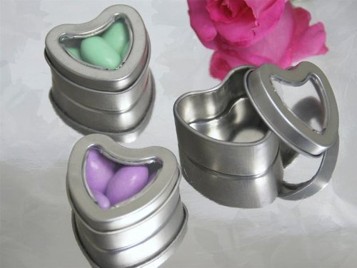 BalsaCircle 100 Silver Heart Mint Tin Wedding Party Favor Boxes for Wedding Party Birthday Candy Decorations Supplies - Heart Favor Tins