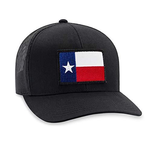 (Haka Hat Texas State Flag Patch Baseball Cap - Black Trucker Mesh Snapback)