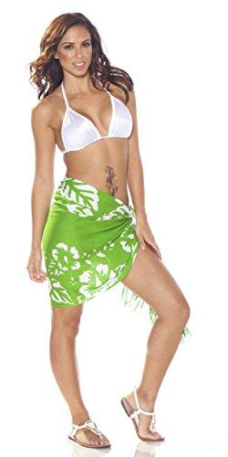 1 Femmes Bain Demi De Fleurs Sarongs Pour D'hibiscus Avec mini World maillot Cache blanc Vert Sarong wOSq7