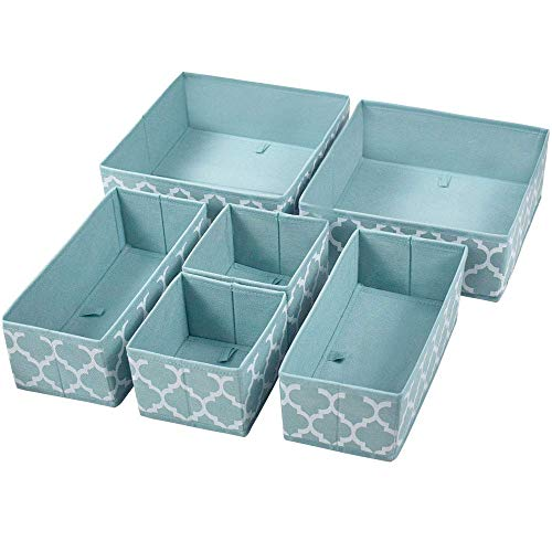Homyfort Set of 6 Foldable Dresser Drawer Dividers, Cloth Storage Boxes, Closet Organizers for Underwear, Bras, Socks, Ties, Scarves (Blue Lantern Printing) (Storage Box For Drawer Clothes)