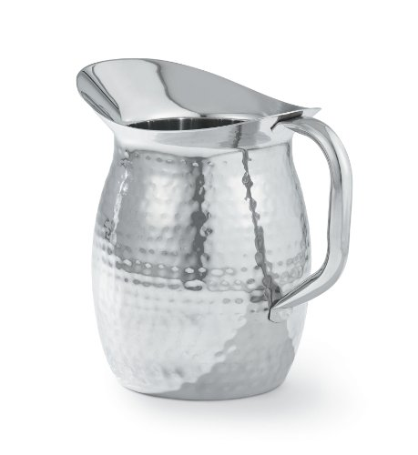 Artisan 2-Quart Double-Wall, Stainless Steel Insulated Serving Pitcher with Hammered Texture