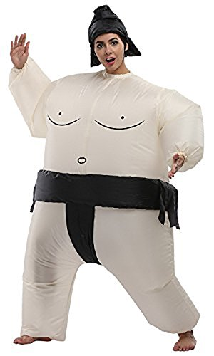 Inflatable Sumo Wrestler Cosplay Costume Blow Up Suit Halloween Funny Fancy (Woman Wrestler Costume)