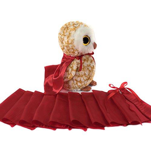 Everfan Red Mini Superhero Cape - Set of 10 | Plush Toy Capes | Doll Superhero Capes (Animal Superhero)