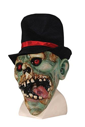 Loftus International Red Eye Skeleton with Hat Full Head Mask, Green/Black/Red, One -