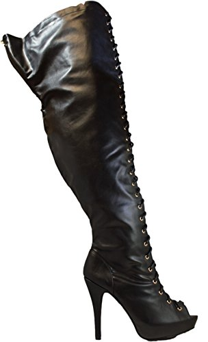 Orly Shoes Wide Width & Extended Calf Lace Up Thigh High Franch Peep Toe Boots in Black Size: 9W