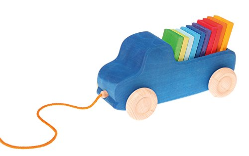 (Grimm's Blue Truck Pull Along Toy with XL Color Charts Building Blocks)