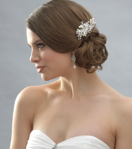 Side Bridal Comb, Wedding Hairpiece with Flowers, Pearls, & Rhinestones 2050