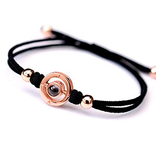 - FREEMODE I Love You Bracelet - 100 Languages Love Memory Hadmade Rope Adjustable Couple Bracelet, Memorable Gift for Sister and Lover. (Black Rose Gold A)