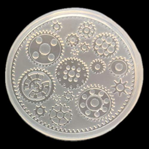 Yalulu 4pcs Steampunk Gear Wheel Clock Resin Molds Jewelry Making Silicone Mould
