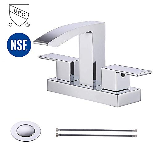 KES cUPC NSF Certified BRASS Two Handle Bathroom Waterfall Faucet with Drain Assembly Lavatory Vanity Sink Faucet 4-Inch Centerset, Polished Chrome, ()