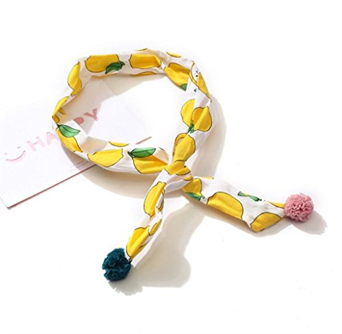 Yellow Pattern Cross (Aidou Boutique Girls Hair Band Children Hair Decorations Cross Headbands Pattern Printed Hairband (Yellow))