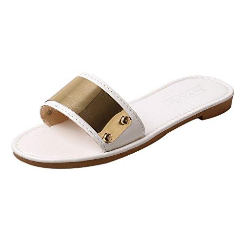 Hunpta Frauen Mode Sommer Wohnung Flip Flops Sandalen Slipper Böhmen Schuhe Weiß